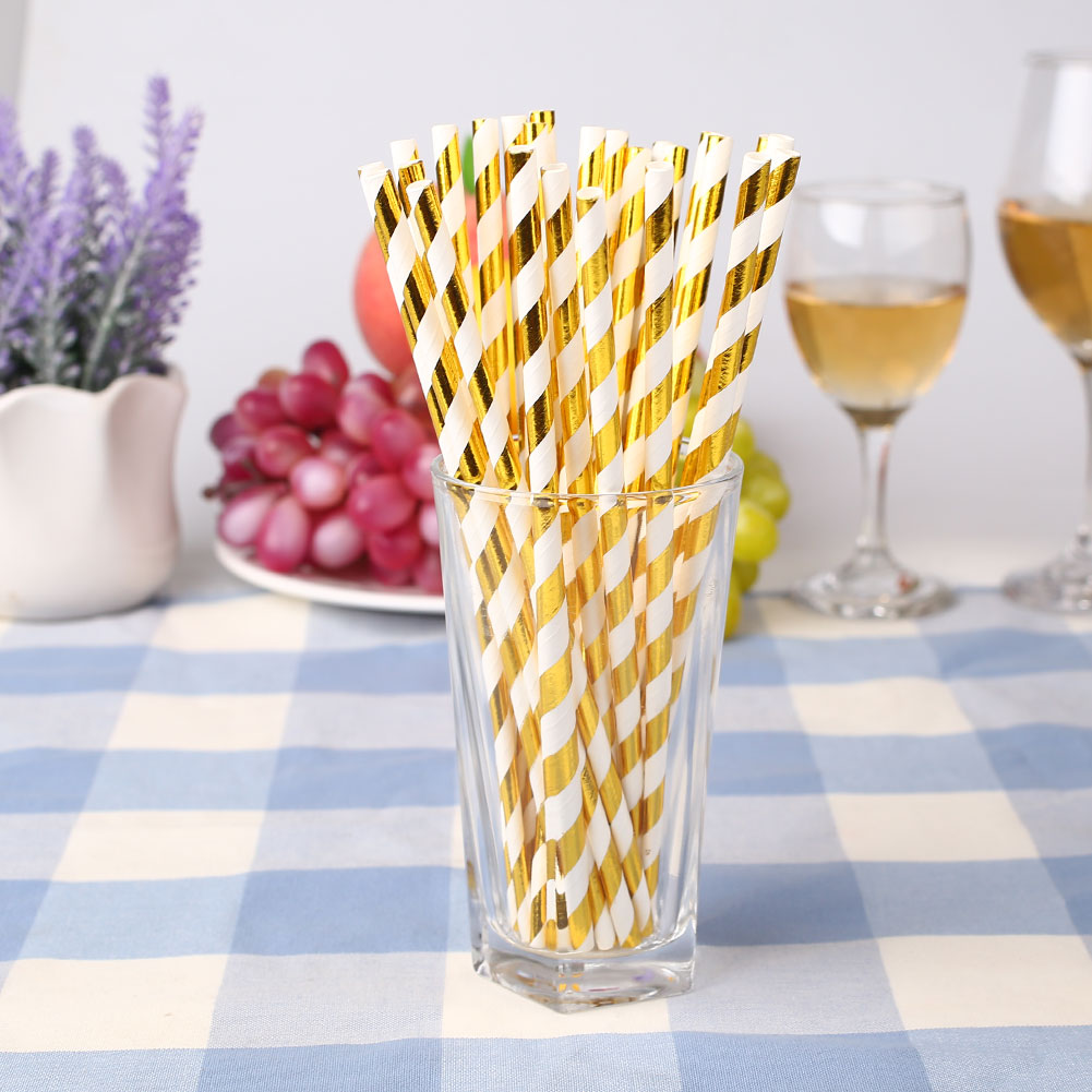 8494-25pcs-Foil-Paper-Drinking-Straw-Drink-XMAS-Birthday-Wedding-Beach-Decor