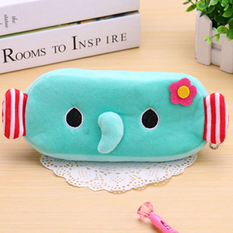 BDF5-Kids-Cartoon-Plush-Kawaii-Pencil-Case-Bag-Animal-Dog-Cat-Elephant-Pen-Box