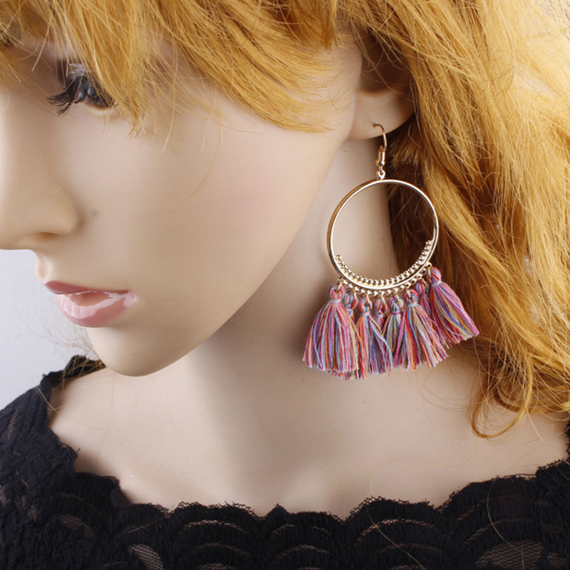 44E3-Retro-Bohemia-Long-Tassel-Big-Circle-Earrings-Jewelry-For-Lady-12-Colors