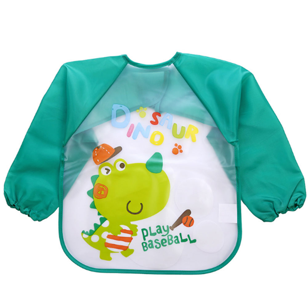 77F3-Bib-Baby-Child-Meal-Long-Sleeve-Feeding-Painting-Coverall-Cow-Happy-Art