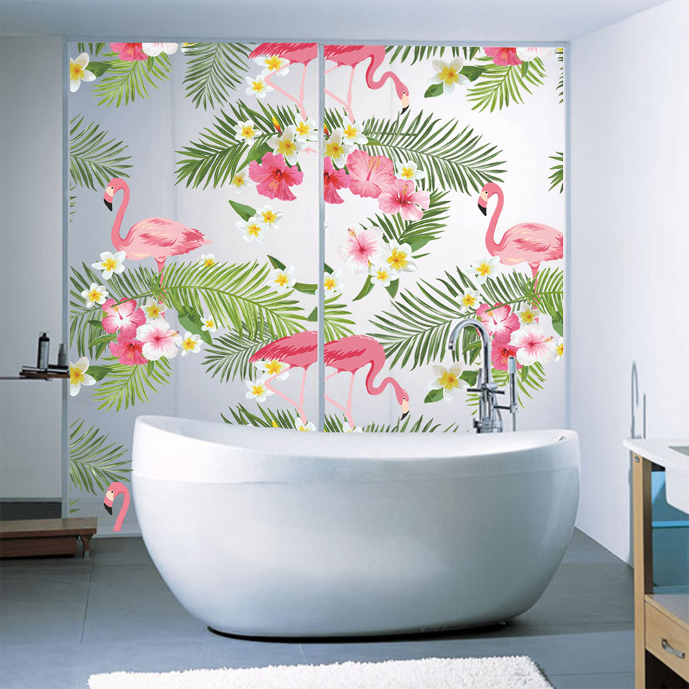 E794-Wall-Stickers-Decal-Flower-Flamingo-Window-Paster-Glass-Removable-Ornament
