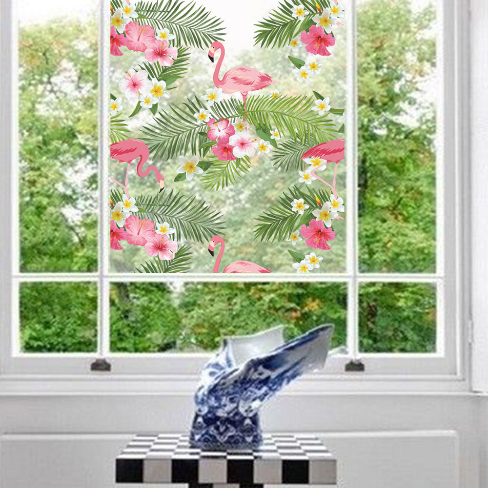00F8-Romantic-Wall-Stickers-Decal-Art-Pink-Flower-Flamingo-Window-Paster-Decor
