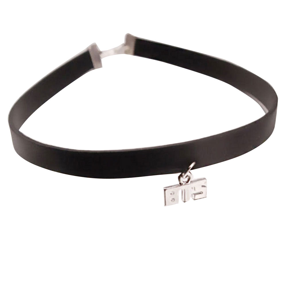 235D-Choker-Necklace-Charm-2-Colors-Leather-Pendent-Beauty-Unisex-Fashion