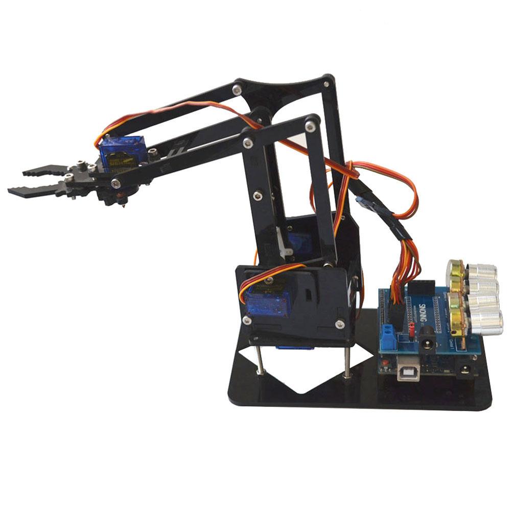 DIY 4DOF Acrylic Robot Arm 4 Axis Rotating Mechanical Robot Arm Arduino Kit Xmas