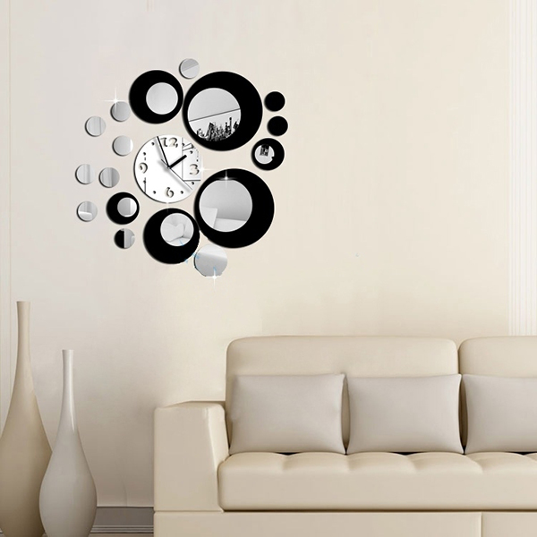 Modern Circles Acrylic Mirror Wall Clock Decal Sticker Movement Decor 690133937481 Ebay