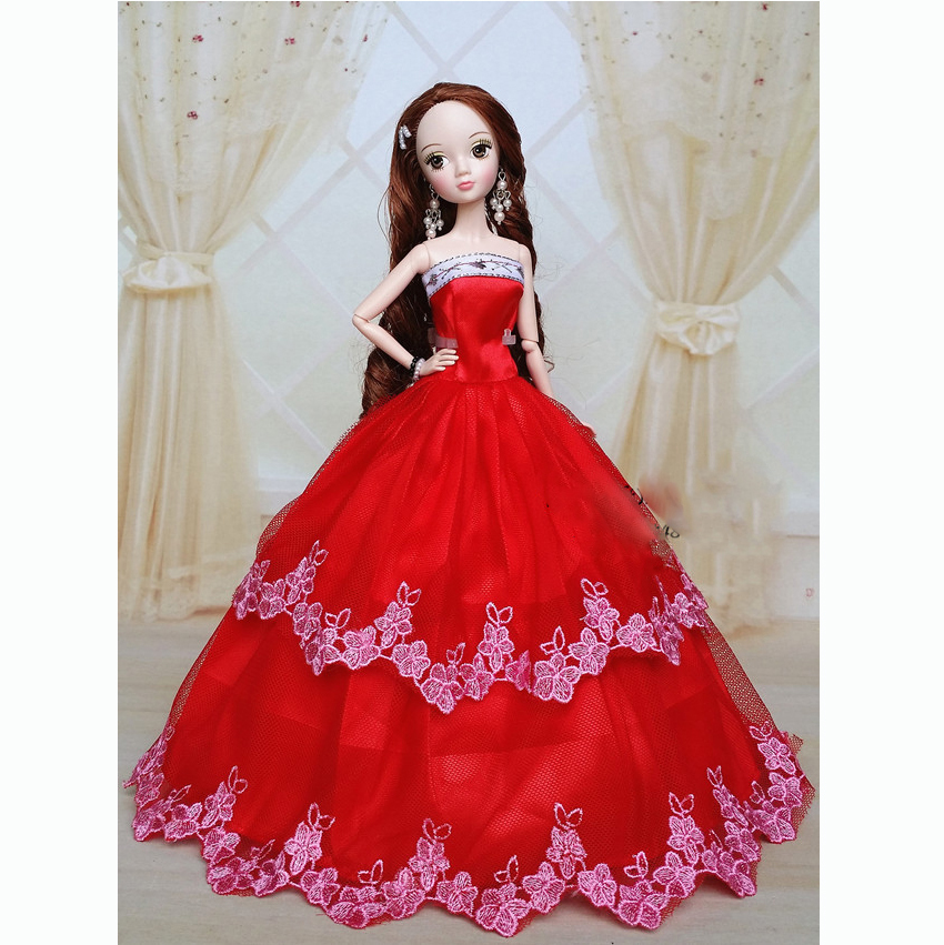 Handmade Wedding Gown Dresses Clothes Outfit Girl Party For Barbie ...