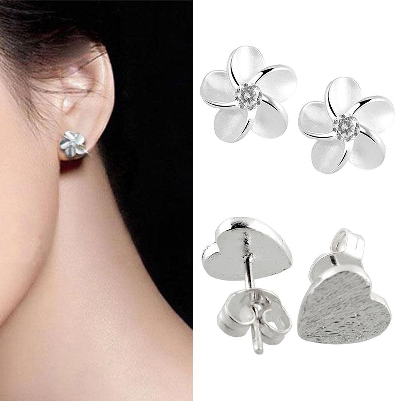 Lovely-Lady-Frosted-Heart-Shape-925-Sterling-Silver-Ear-Stud-Earrings-Gift-C560