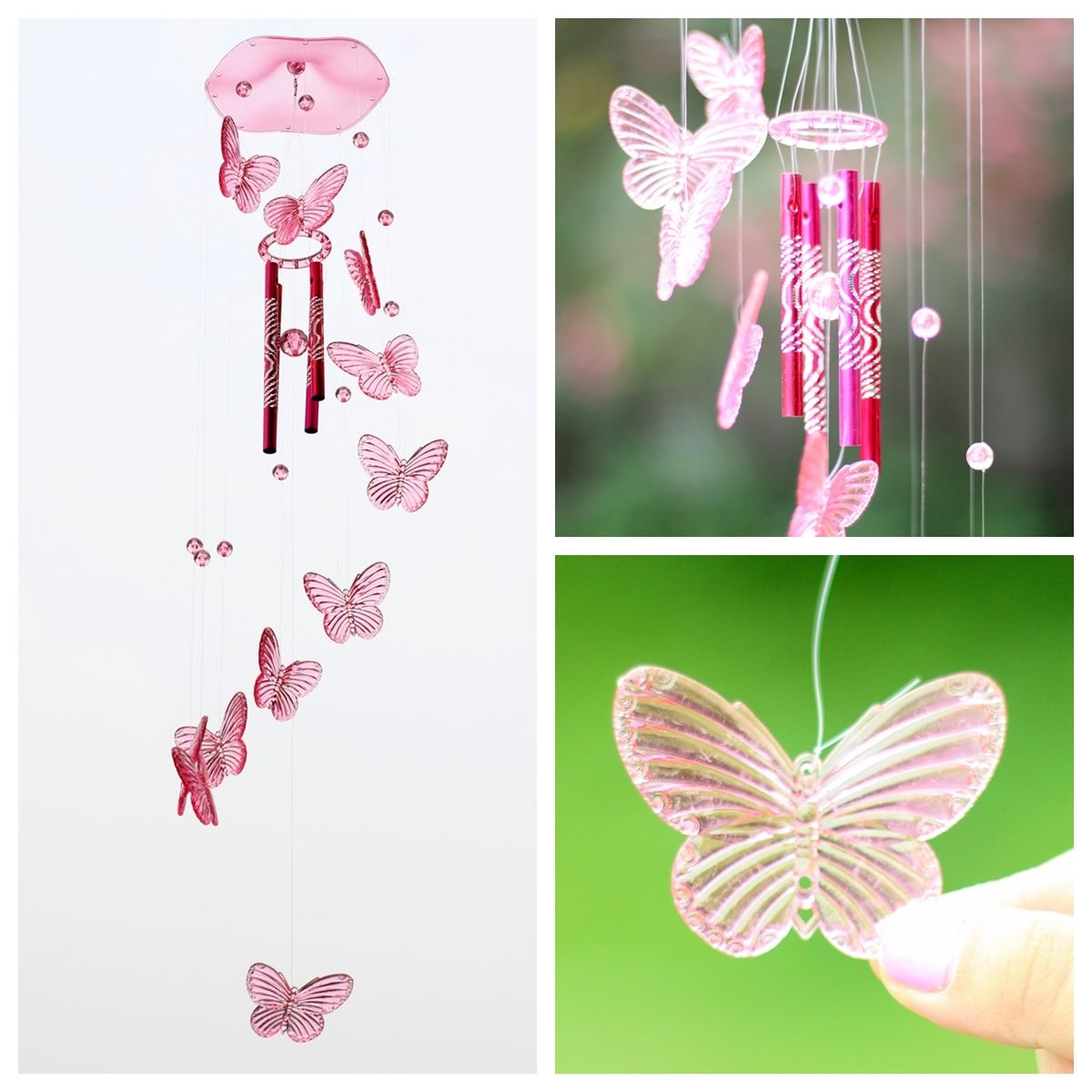 Pink Butterfly Wind Chime Bell Ornament Yard Garden Hanging Decor Art