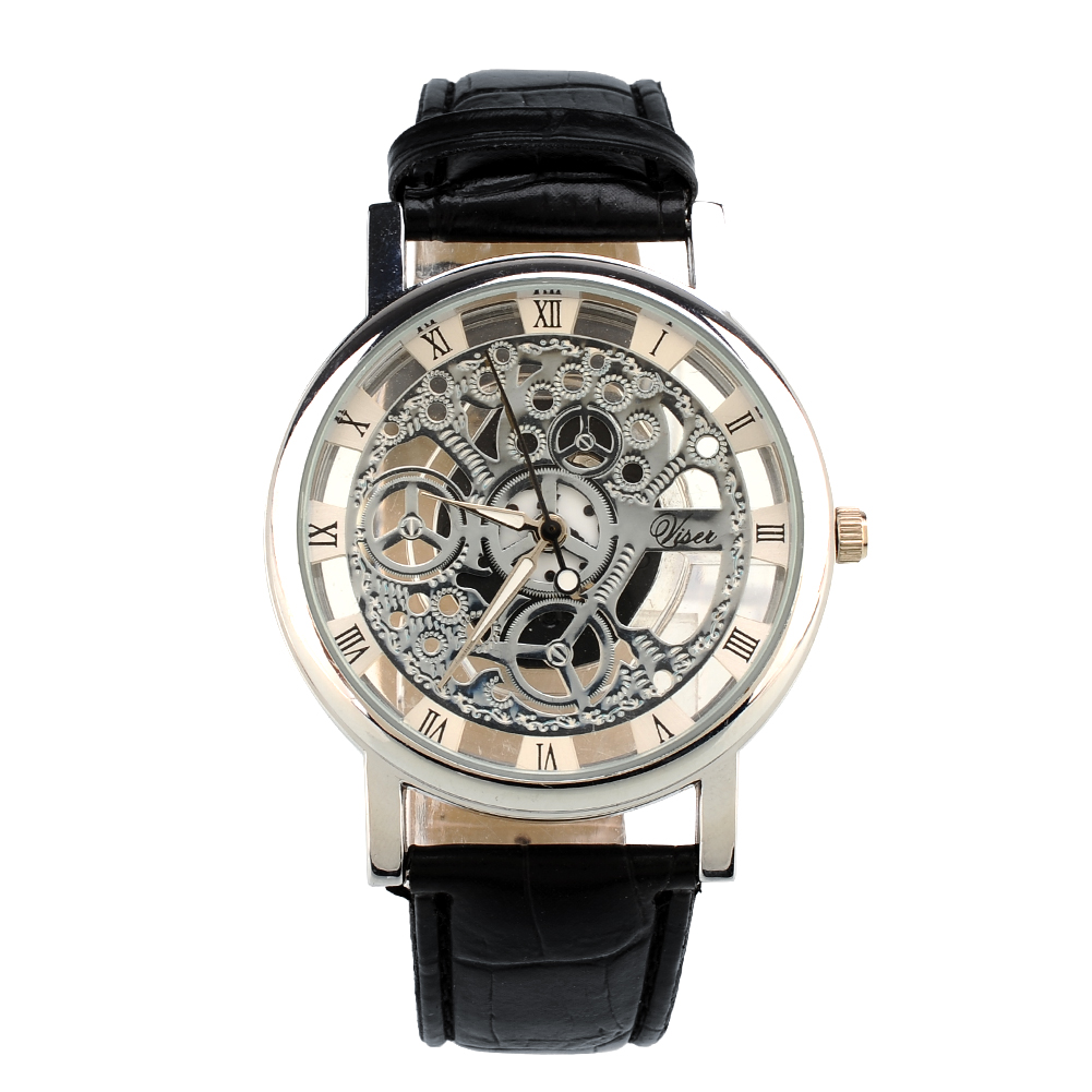 840B-Skeleton-Dial-Mens-Leather-Band-Stainless-Steel-Dial-Wrist-Watch-Hour-NEW