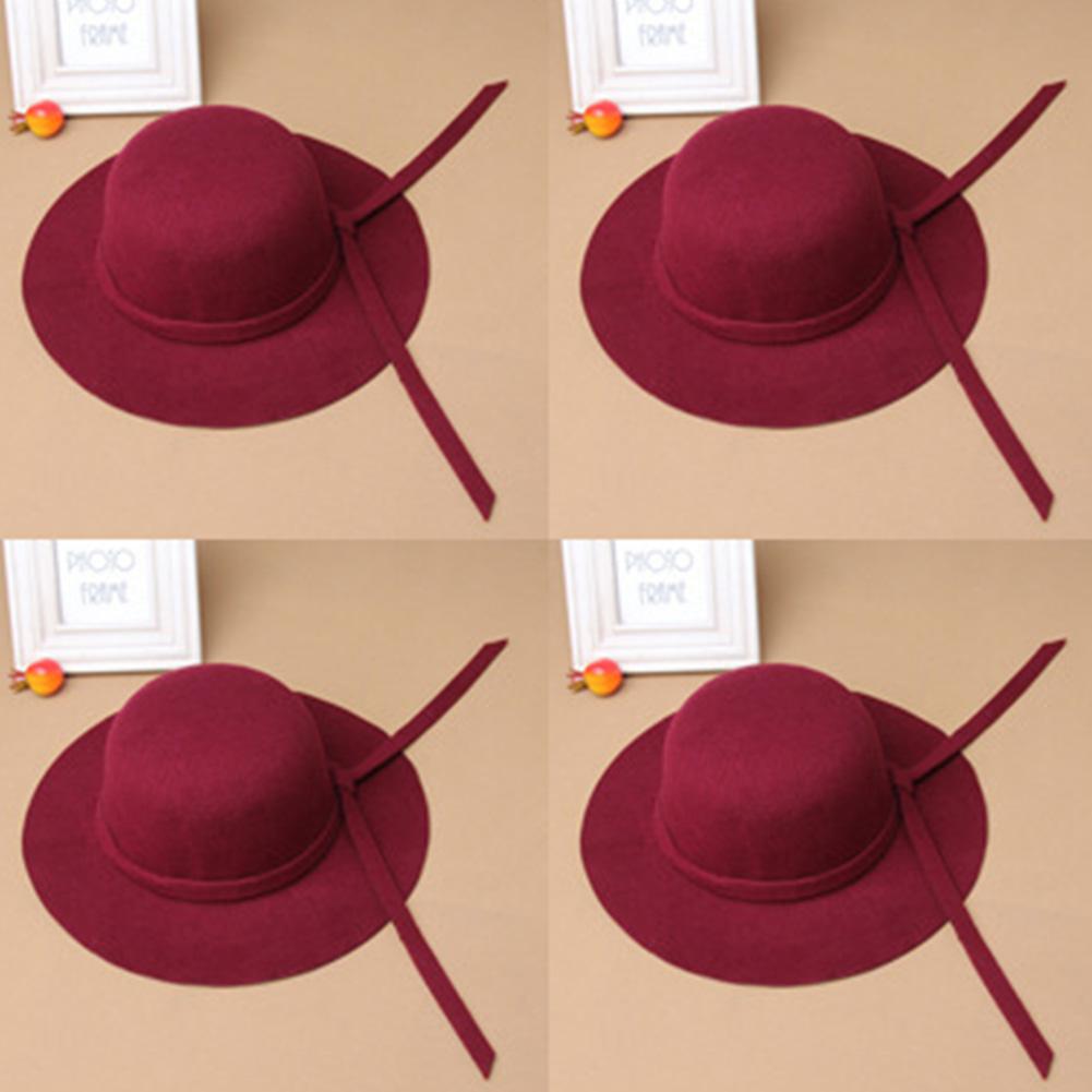 E92D-Bowknot-Beach-Girls-Retro-Floppy-Cap-Fedora-Kids-Wide-Brim-Soft-Wool-Hat