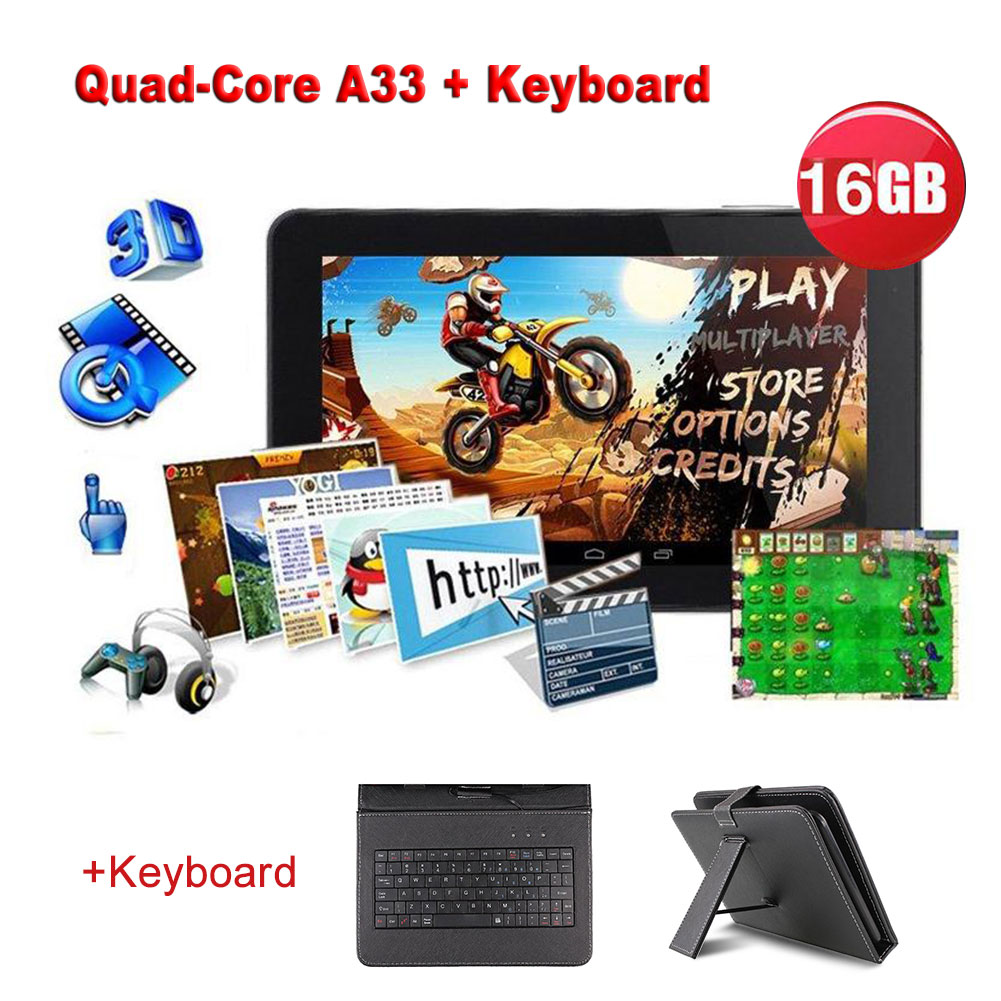 "N98 9"" Android Tablet PC Quad Core 1GB 16GB Wi-Fi +Keyboard Case Bundle US Black"