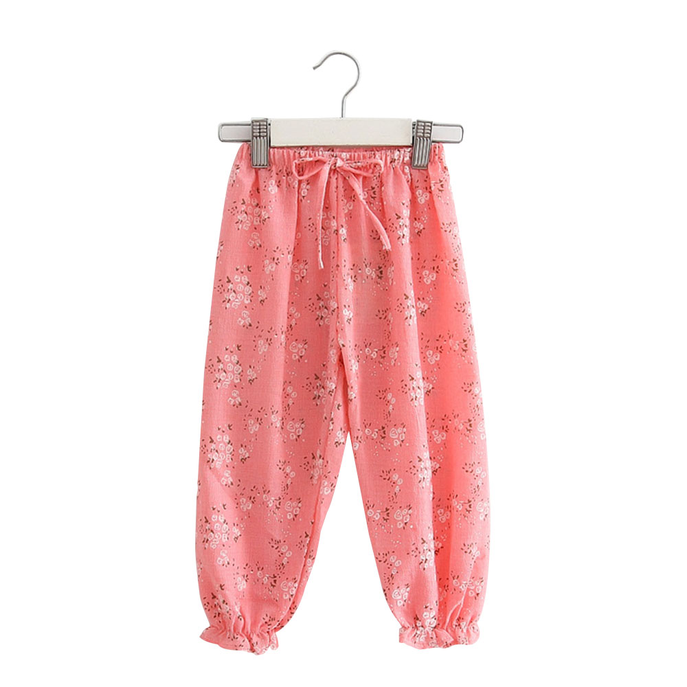 8E93-Comfortable-Children-Girls-039-Pants-Floral-Trousers-Bloomers-Cotton-Linen