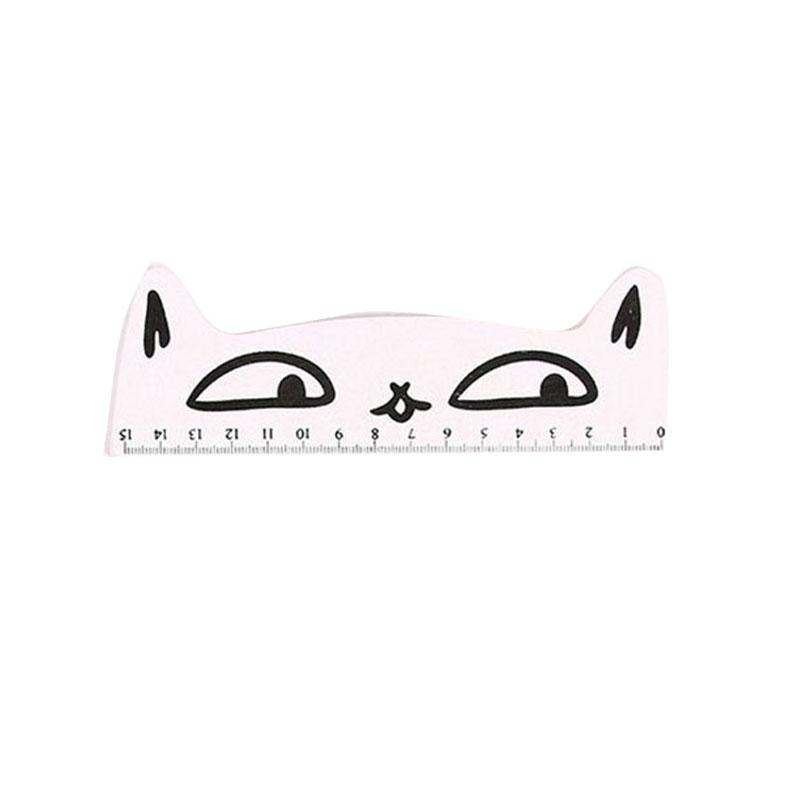 C24A-Lovely-Cartoon-Cat-Shape-Kitten-Wooden-Straight-Ruler-School-Supplies-15cm
