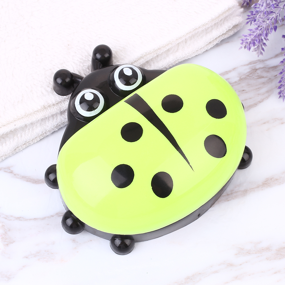 D19B-Cartoon-Ladybug-Soap-Box-Case-Holder-Rack-With-Cover-Bathroom-Accessories